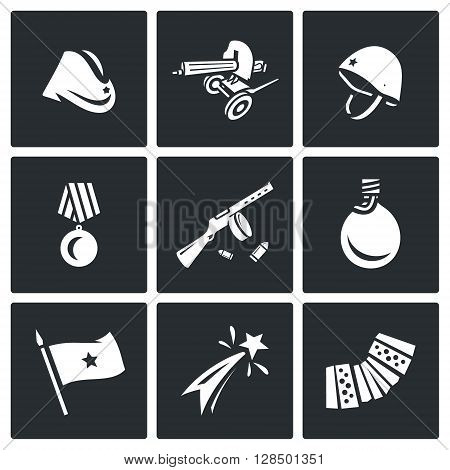 Vector Set of Victory Day in Russia Icons. Garrison cap, Machine gun, Helmet, Order, Submachine, Flask, Flag, Firework, Harmonic.