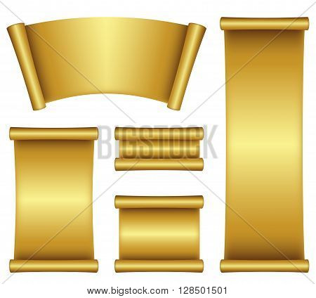 illustration of gold scroll isolated on a white background .