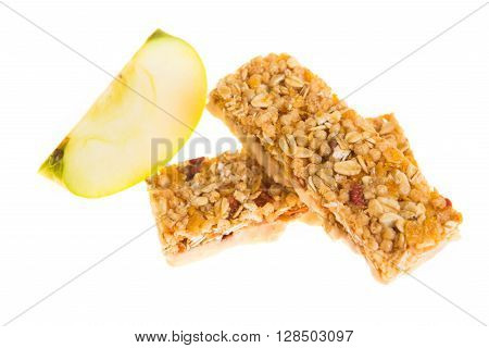 Muesli Bars Dried Fruit On Isolated Background With Apple