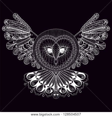 Coloring page, zentangle hand drawing Owl illustration, tribal totem, mascot, doodle bird for adult Coloring books or tattoos, logo, postcard. Vector monochrome sketch of polar bird.