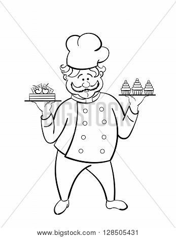 black and white confectioner with  chocolate cakes with cherry. vector.  isolated.