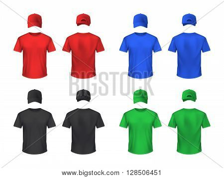 Basebal cap and t-shirt front and back sets in blue green black red realistic isolated vector illustration