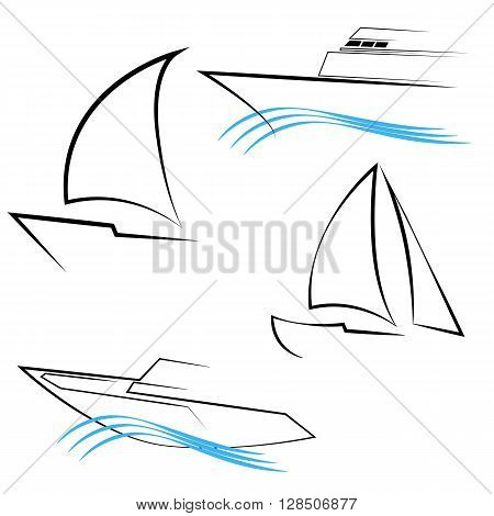 Yachts Silhouettes. Line Yachts Symbols. Yachting and Regatta Icons. Yacht Logo Templates on White Background