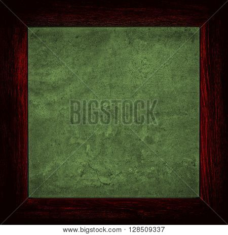 Dark Red And Green Grunge Canvas With Wood Frame
