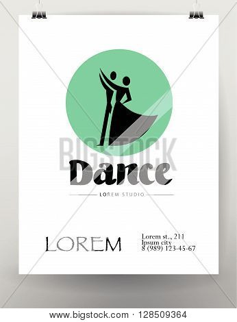 Vector dance studio logo. Dance poster. Dancing couple icon. Human icon. Human figure. Dancing lady. Dancing man. Ballet. Ball room dance. Dance school insignia. Poster, placard design. Flat illustration.