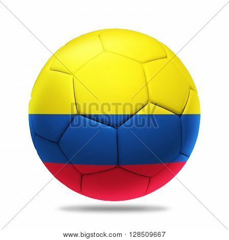 3D soccer ball with Colombia team flag isolated on white