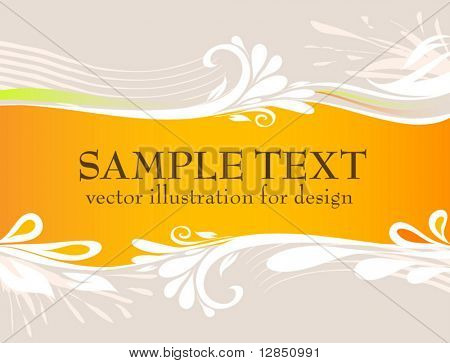Abstract vector background for design. Floral pattern with text.