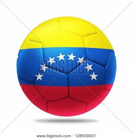 3D soccer ball with Venezuela team flag isolated on white