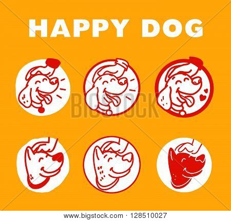 Vector flat hand drawn happy dog portrait. Dog logo isolated on yellow background. Dog icon. Dog store, dog barberry, dog shop, dog clinic, dog center, dog food. Dog illustration. Animal accessories.