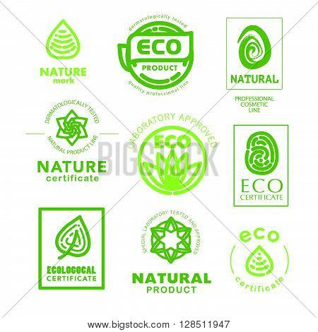 Vector flat eco product emblem set. Ecological cosmetic sign. Eco badge. Finger stamp. Natural product line. Nature certificate quality. Leaf, flower icon. Eco symbol. Natural cosmetics. Eco friendly logo. Bio organic.