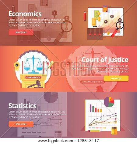 Social science of economics. Political economy. Court of Justice. Study of statistics. Exact sciences. Civil law. Liberal art. Education and science banners set. Vector design concept.