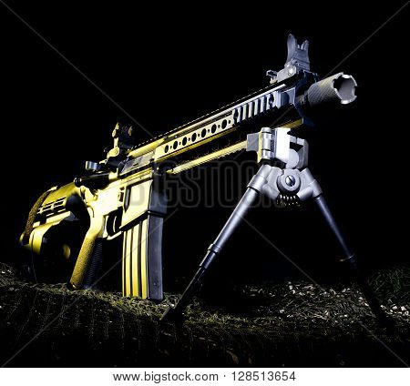 Pistol version of a modern sporting rifle with a yellow gel