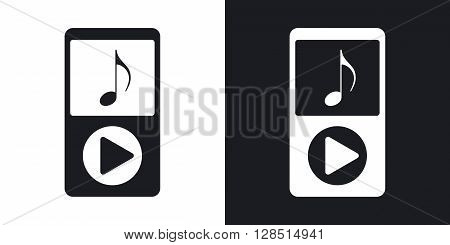 Music player icon stock vector. Two-tone version on black and white background