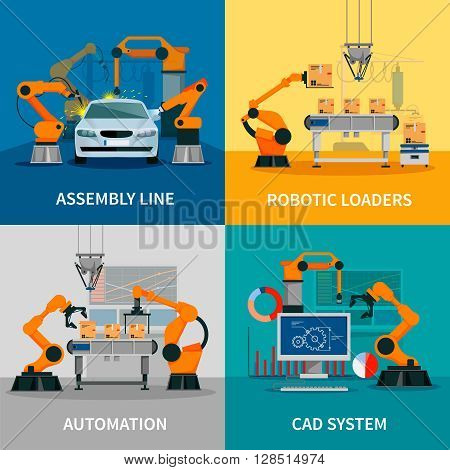 Automation concept icons set with assembly line and CAD system symbols flat isolated vector illustration poster