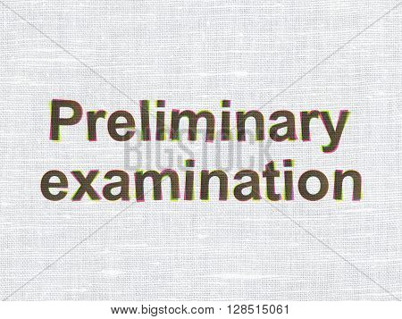 Education concept: CMYK Preliminary Examination on linen fabric texture background