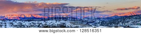 Panoramic view of Red Rocks formations in Sedona, Arizona in winter at sunset