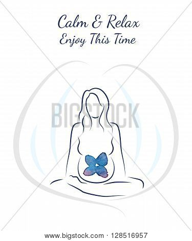 Postcard Illustration poster pregnancy happy time Trimesters nucleation and growth of the child Calm and Relax Enjoy this time