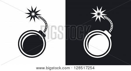 Vector bomb icon. Two-tone version on black and white background