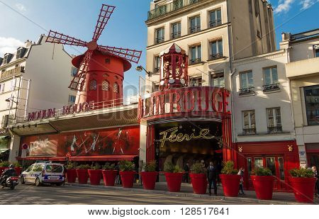 Paris France-May 03 2016: The famous cabaret Moulin Rouge located close to Montmartre on boulevard Clichy in the 18th arrondissement of Paris.