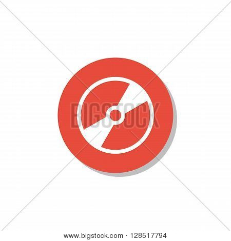 Cd Icon In Vector Format. Premium Quality Cd Symbol. Web Graphic Cd Sign On Red Circle Background.