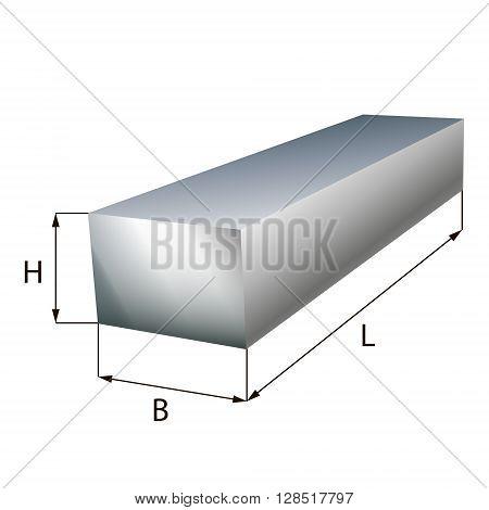Steel block plate industrial metal object. Vector illustration. EPS 10.