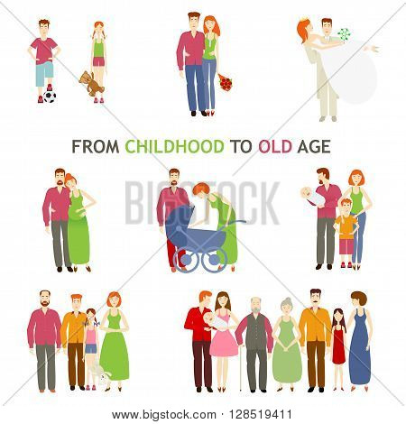 large set of people of different ages, vector flat is isolated on a white background, life, from birth to old age, story of love, family history, growing up people and making love family, small to old