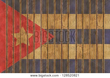 Illustration of the Cuban flag against a background of wooden panels