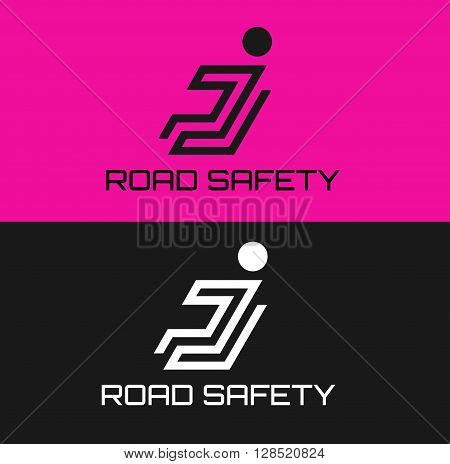 Business Icon - Vector logo design template. Abstract emblem for Family Wearing Seat Belts on a Car. Road safety