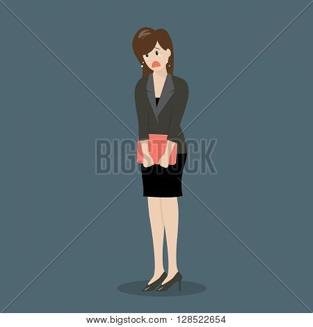 Weeping business woman. Business cartoon mistake concept