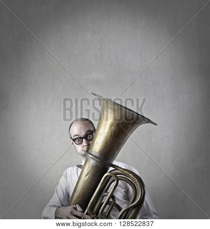Playing trombone