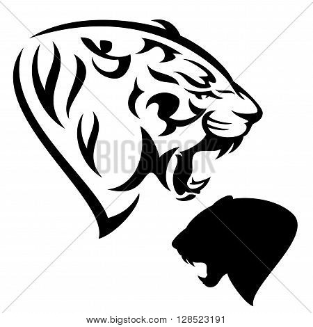 roaring tiger - black and white animal head design and silhouette