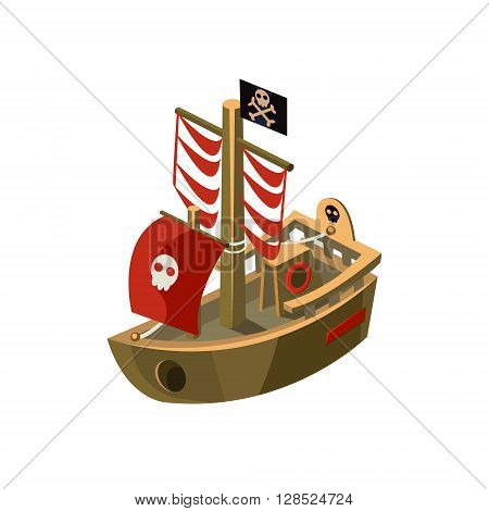 Pirte Boat Colorful Vector Icon In Childish Toy Style Design Isolated On White Background