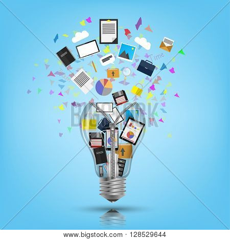 Light bulb bursting with icons and ideas.