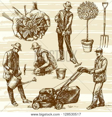 Gardening tools. Hand drawn vector illustration. Watering flowers. Farmer planting seedlings. Man cutting grass with lawn mower.
