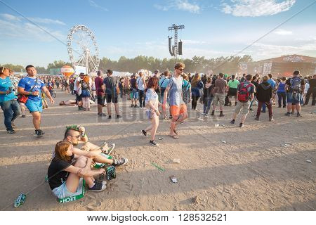 Kostrzyn Nad Odra, Poland - August 1, 2015: People Waiting For Concerts On The 21Th Woodstock Festiv