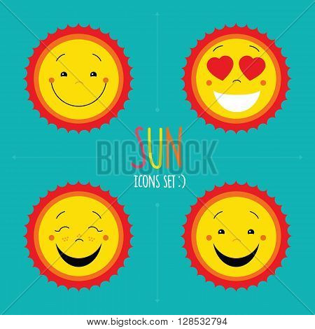 Sun icons set. Vector cute kid happy sun. Cartoon sun symbols collection. Sun logo designs set. Happy sun, smiley face sun, love sun icons. Flat sun icon set for website. Vector sun symbol for print.