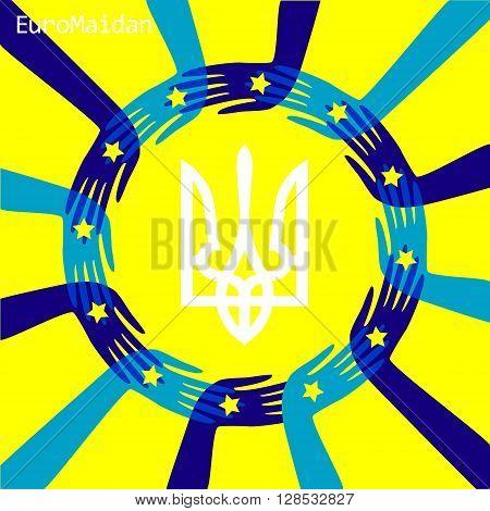 Euro Maydan concept; European Union flag; Protest symbol; People unity; Ukrainian strike; Trident Tryzub
