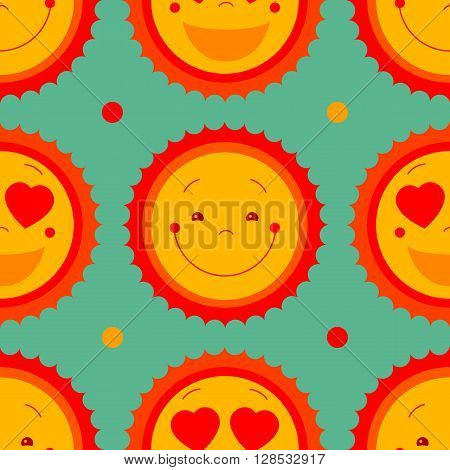 Vector abstract seamless pattern background with smile sweet suns and dots. Cartoon cute character seamless repeat pattern background design. Cute funny baby decorative graphic repeating background.