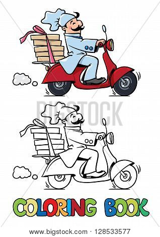 Coloring book of funny pizza chef or baker rides a scooter or motobike with boxes of pizza, like courier or delivery boy.  Children vector illustration. Cartoon