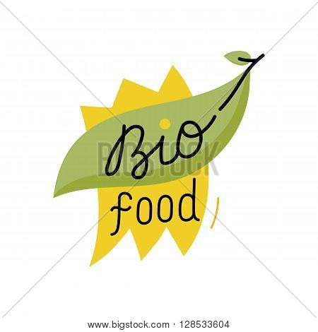 Bio icon. Cartoon organic icon. Bio food label. Natural product icon. Food icon. Organic tag. Bio label. Vegetarian restaurant menu logo. Organic icon. Ecology icon. Cartoon bio sign. Funny bio icon