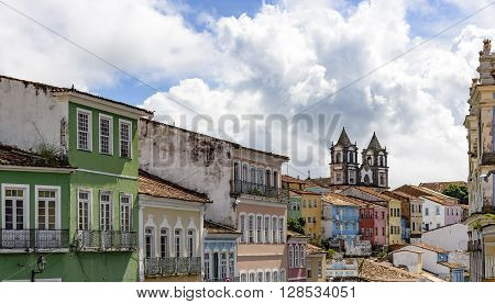 Houses and buildings of Pelourinho in Salvador with its colors and typical features