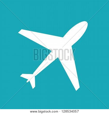 Flight web icon. Airplane symbol plane. Airport sign white airplane shape on blue background. Flat flight symbol. Travel icon shape label symbol. Graphic design element for logo web and print
