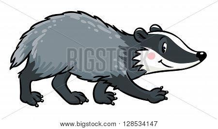 Children vector illustration of funny badger or brock.