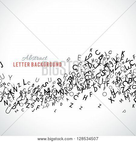 Abstract black alphabet ornament border isolated on white background. illustration for education writing design. Stripe of random letters fly in middle. Alphabet book concept for grammar school