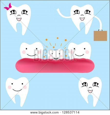 Baby teeth. The first baby teeth. Happy child with healthy teeth. Vector illustration.Growing young tooth.