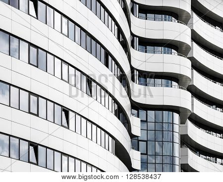 Abstract fragment of modern architecture. Common modern business industrial architecture. Modern office building.