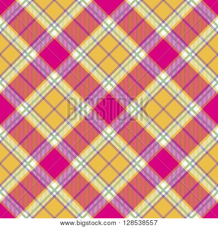 plaid indian madras diagonal fabric texture seamless pattern. Vector illustration. EPS 10. No transparency. No gradients.