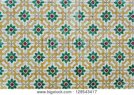 Texture of traditional Portuguese tiles on the wall