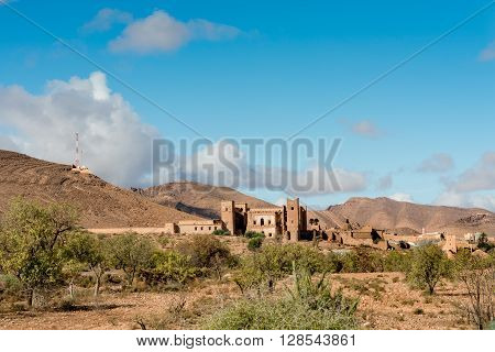 Glaoui kasbah near Taliouine in the Anti-Atlas Morocco.