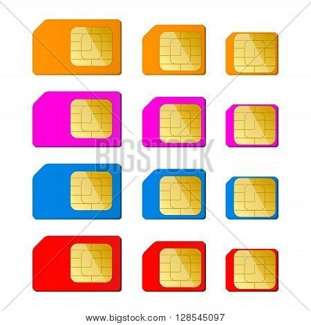 Mini micro nano sim card in red blue pink orange color. Vector illustration. EPS 10.